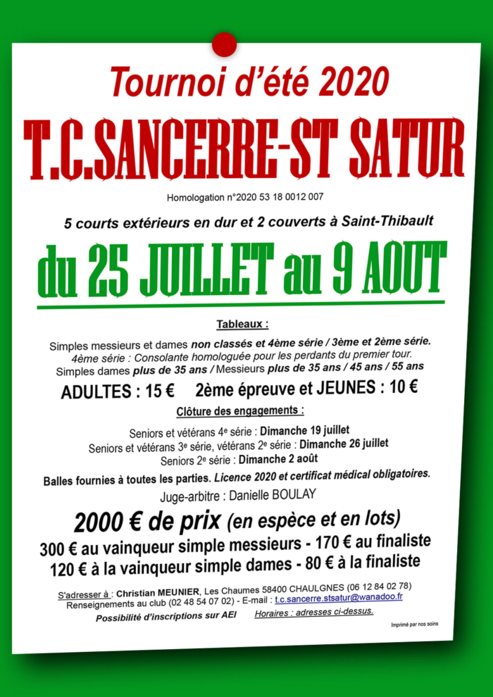Tournoi tennis St Satur
